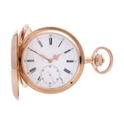 IWC man's pocket watch with watch case in rose Gold 14K, guilloche fine, approx. end of 19th century. Century.
