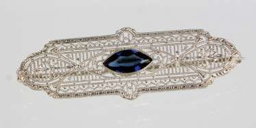 Sapphire Brooch - White Gold 585