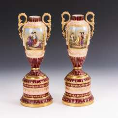 2 amphora vases in the Viennese style