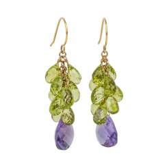 1 P: drop earrings with facet. Peridot and Amethyst Pampeln.