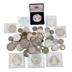 A mixed collection of coins and medals