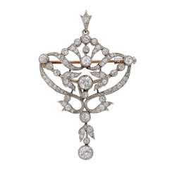 Art Nouveau pendant/brooch Empire bes. with old European cut diamonds, together CA. 2 ct