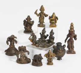 Ten small figures of gods and others