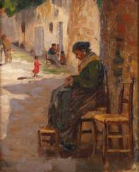 Carl O'Lynch of Town, street scene with a seated