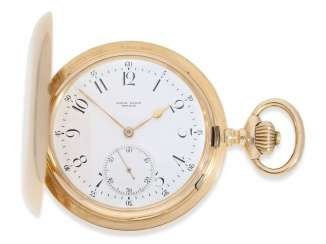 Pocket watch: fine, heavy Geneva, Anchor chronometer Alex Hüning No. 22131, delivered to Louis Hainz, Prague, CA. 1900