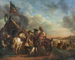Resting Cavalrymen. Philips Wouwerman, in the nature of the
