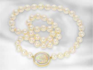 Chain/necklace: decorative new Akoja cultured clasp pearl necklace with lace opal 9.5 ct in handcrafted Nittel, 18K Gold