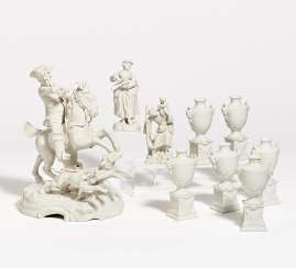 Hunting group, 6 small vases as table decoration, figure Hl. Christopher
