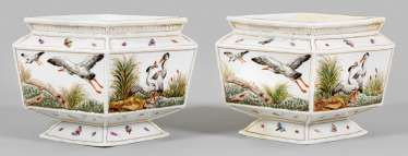 Pair of Cachepots with relief decoration