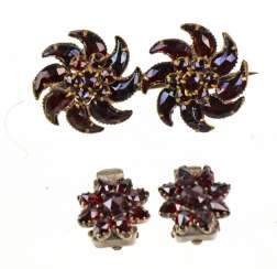 Garnet brooches and clip-on earrings