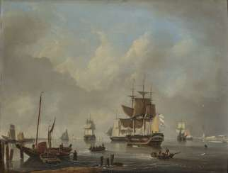 Dominique de Bast - Harbor scene with ships
