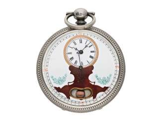 Pocket watch: large men's pocket watch with a Central seconds hand and slip the pendulum, Swiss for the Chinese market, CA. 1870