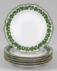 Six dinner plates with vine leaf decoration