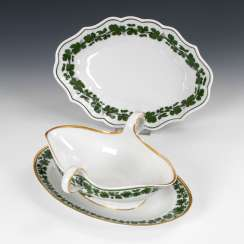 Bowl and gravy boat with vine leaves decor,