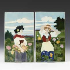 Pair of art Nouveau tiles with the representation of Women, John OF BLACK / NÜRNBERG