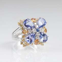 Tanzanite and diamond Ring with multi-colored sapphires