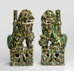 Pair of 'Sancai'-glazed incense holders in the Form of a Buddhist guardian lions