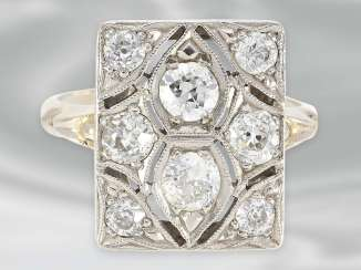 Ring: decorative Art Deco Ring with diamonds, total approx. 1,36, 14K white gold