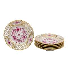"MEISSEN set of 6 plates ""Indian purple"", 20th century, 1st choice."