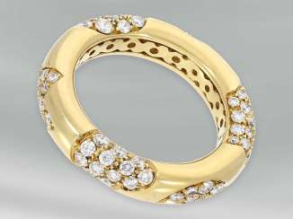 Ring: high quality yellow gold ring with a very decorative, brilliant trim, approx 1.32 ct, 18K Gold