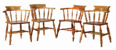 Four 19th century spindle chairs