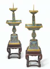A PAIR OF CLOISONNÉ ENAMEL CANDLESTICKS