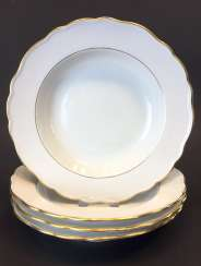 Four Soup Plates: Meissen Porcelain. The gold edge.