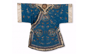 Jacket of woman in blue silk and beige China - End of the Nineteenth century