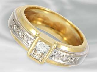 Ring: high-quality diamond ring in two-tone look, insgsamt approx 0,67 ct, 18K Gold, hand work