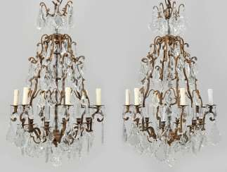 Pair of large ceiling chandeliers