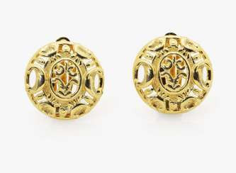 A pair of ornamental clip-on earrings Germany, 1980s - 1990s