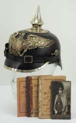 Prussia: spiked helmet for man features in the railway battalion No. 4, Berlin.