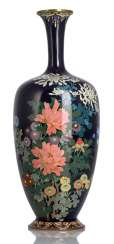 Cloisonne Vase with polychrome floral decoration on a midnight blue base