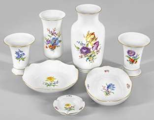 Collection of Meissen porcelain with floral decor