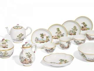 Tea sets, with fine landscape scenes
