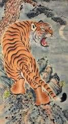 Anonyme Malerei eines fauchenden Tigers