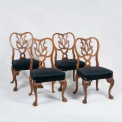 Set of 4 rare Chippendale chairs