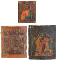 THREE ICONS: CHRIST PANTOCRATOR, EXTENDED DEESIS AND FESTIVE ICON