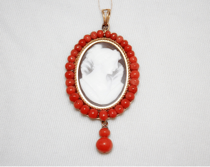 Pendant with cameo and coral