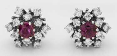 Pair of elegant ruby diamond earrings