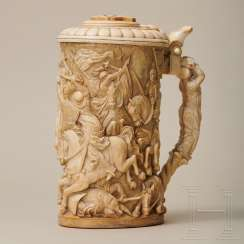 Large ivory tankard with a knight's battle, Erbach, around 1880