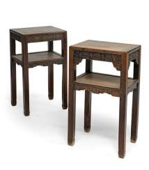 Two side tables made of hard wood