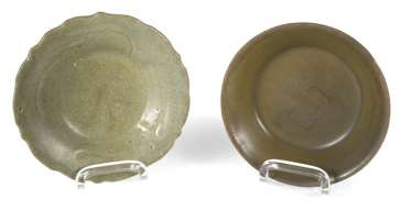 Two small celadon bowls, one in the form of flowers