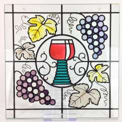 Window image / Zierbild: glass-equipped colored with grapes and wine leaves and wine Cup, 20. Century, very good.