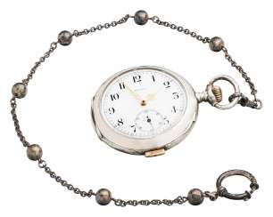 Movado man's pocket watch with percussion and chain