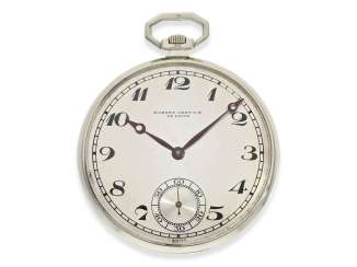 Pocket watch: exquisite, super-flat Art Deco Frackuhr with a platinum case,