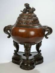 A large incense burner from Bronze in three Parts