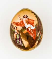 Porcelain Easter egg with the resurrection of Jesus