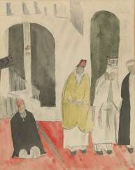 GRISHENKO, ALEXEI (1883-1977) Men in the Mosque , signed twice, once on the cardboard, and dated