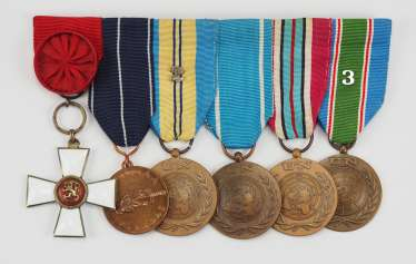 Finland: Medalbar of a veteran of 5 conflicts with 6 awards.